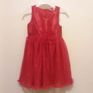 NWT H&M red sparkle and satin 3d flower dress.